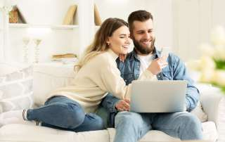 young couple on the sofa - cohabitation